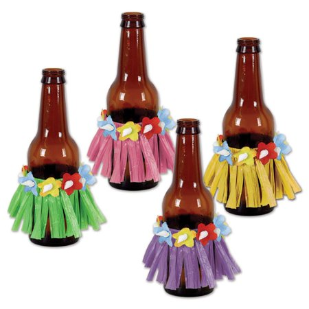 (48ct) Luau Party Drink Hula Skirts, assorted colors
