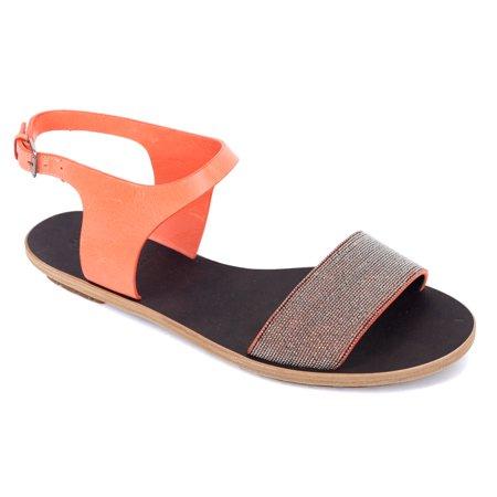 Cucinelli Womens Brunello Embellished Leather Orange Sandals CBrdxoe
