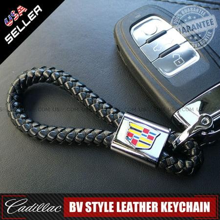 Black Leather Metal Keychain With Cadillac Logo Emblem Decoration Birthday Gift