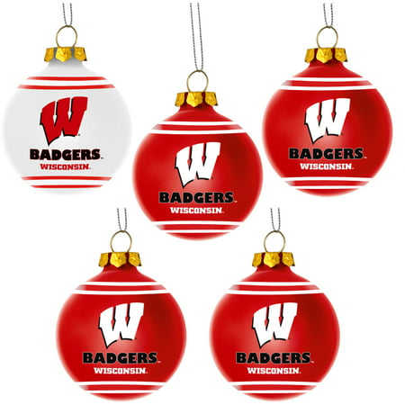 Forever Collectibles NCAA 5-Pack Shatterproof Ball Ornaments, University of Wisconsin Badgers 5 Pack Mini Ornaments