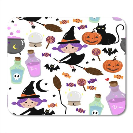 LADDKE Autumn Black Treat Witch Pattern Halloween Trick Bat Mousepad Mouse Pad Mouse Mat 9x10 inch - Halloween Bat Treats