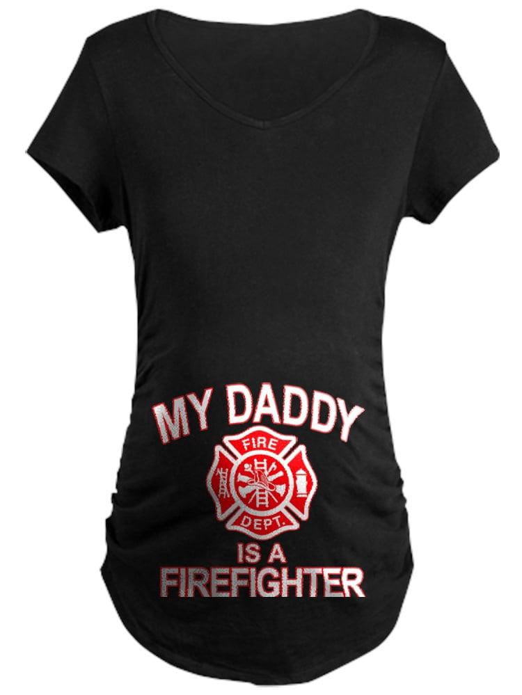CafePress - My Dad Is A Firefighter Maternity T-Shirt - Maternity Dark T-Shirt