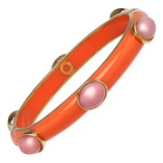 Pink Opal Six-Stone Bangle Bracelet in 18kt Gold-Plated Sterling Silver