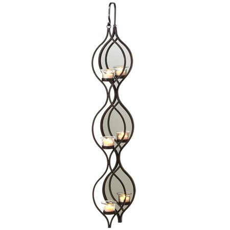 """Dark Brown Curly Hanging Triple Tealight Holder with Oval Mirror 35"""""""