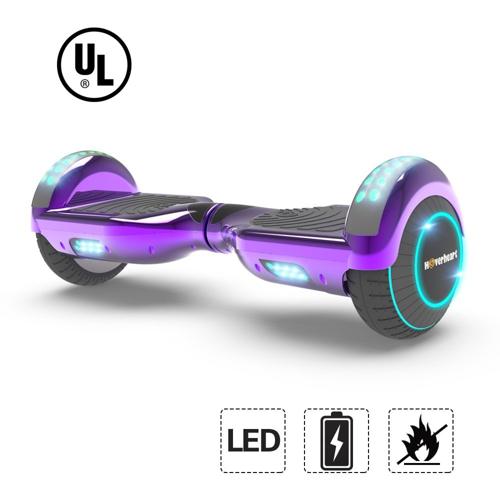 "UL2272 Certified TOP LED 6.5"" Hoverboard Two Wheel Self Balancing Scooter Chrome Purple"