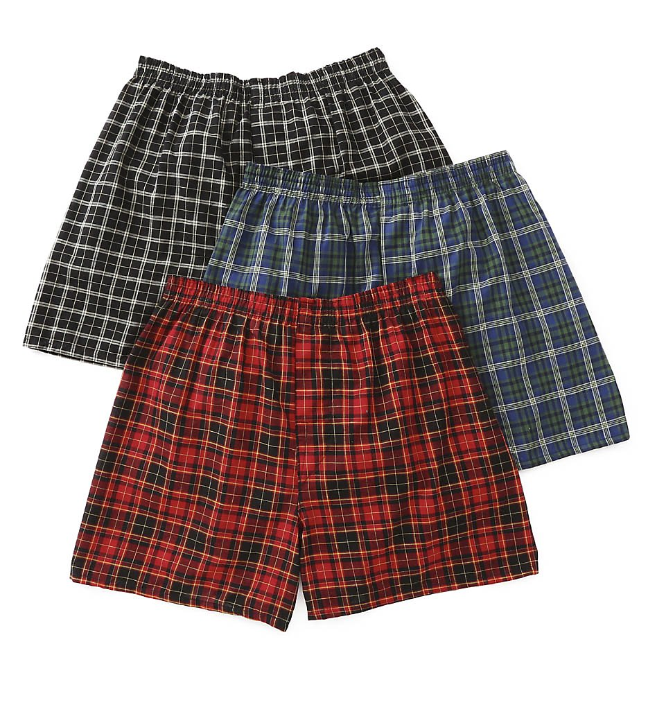 Fruit Of The Loom 590 Traditional Tartan Assort Woven Boxer - 3 Pack