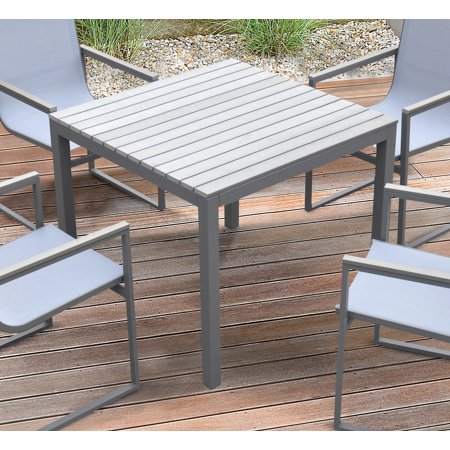 Armen Living Bistro Outdoor Patio Dining Table in Grey Powder Coated Finish with Grey Wood Top ()