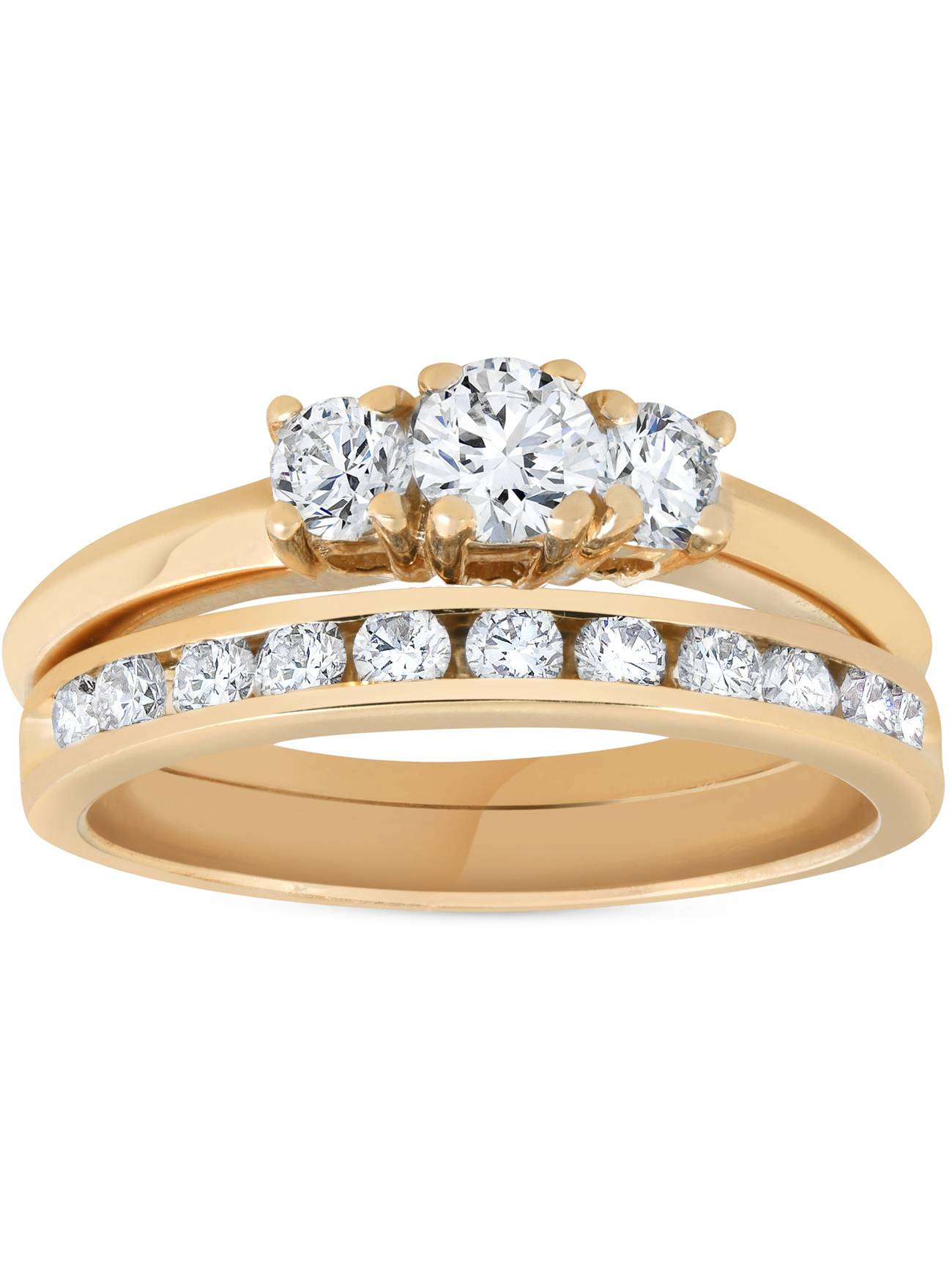 14k Yellow Gold 1ct Diamond Engagement Wedding Ring Set 3Stone Channel Set Round by Pompeii3