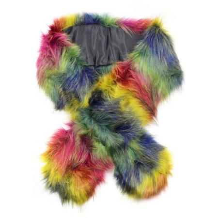 Fun Scarf (Rainbow Colorful Faux Fur Shoulder Wrap Scarf)