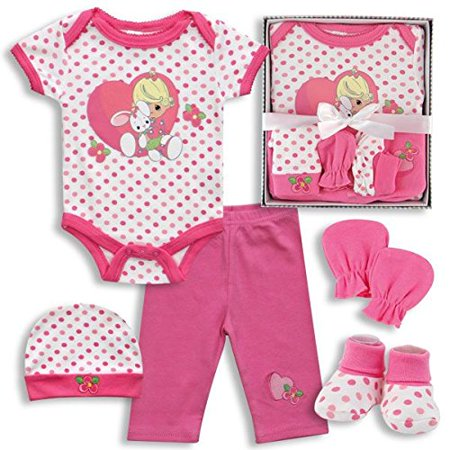 Precious Moments Baby Girls 5 Piece Pink Clothing Gift Set - Girl with Bunny Rabbit in Heart (0-3 Months) (Precious Moments Heart Cake)
