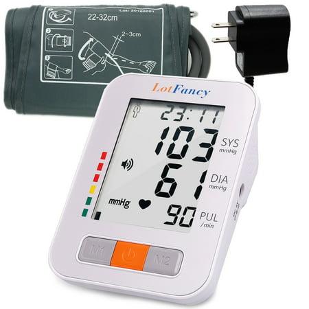 LotFancy Upper Arm Blood Pressure Monitor - Talking Automatic Digital BP Machine, 2 User Mode, 4 Inch LCD