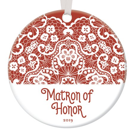 Matron of Honor Proposal Ornament Christmas 2019 Keepsake Bride Asking Married Sister Best Girlfriend Wedding Party Present Bridal Shower Favors Victorian Floral Lace 3