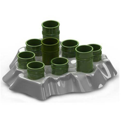"Image of Aikiou Stimulo Activity Food Center for Cats, Gray/Green, 11.5"" x 11"" x 2"""
