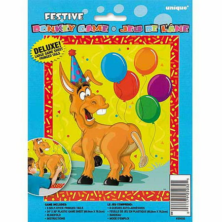 Large Pin the Tail on the Donkey Party Game for 8