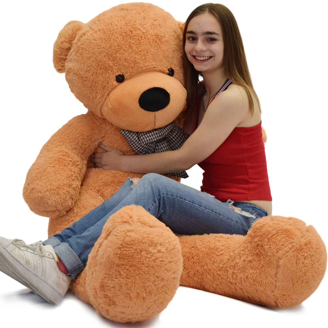 "WOWMAX 4 Foot Light Brown Giant Huge Teddy Bear Cuddly Stuffed Plush Animals Teddy Bear Toy Doll 47"" by"