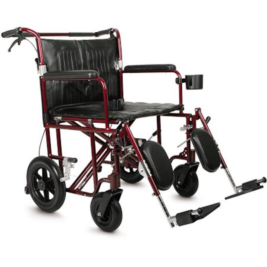 "Medline Bariatric Transport Wheelchair, 22"" Wide Seat, Permanent Full-Length Arms, Elevating Leg Rests"