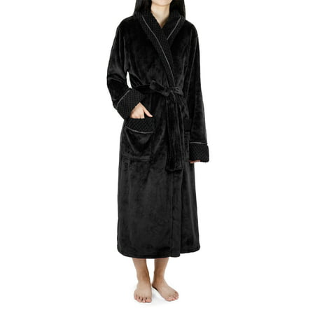 Deluxe Women Fleece Robe with Satin Trim | Luxurious Plush Spa Bathrobe Waffle Design - Black Monk Robe