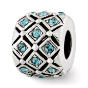 Dec Light Blue Lattice Charm in Silver with Swarovski Crystals
