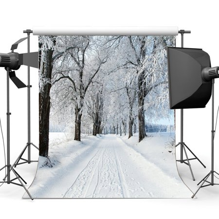 MOHome Polyster 5x7ft Photography Backdrop Christmas Snow Covered Landscape Jungle Forest Trees Nature Winter Scene Xmas Backdrops Happy New Year Background Baby Kids Adults Photo Studio Props