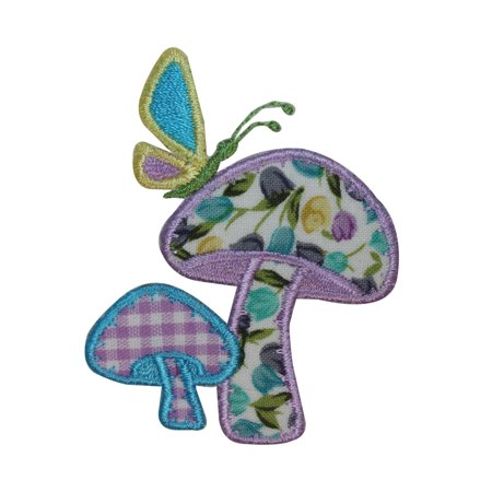 ID 3142 Floral Print Mushroom Butterfly Patch Hippie Embroidered IronOn Applique