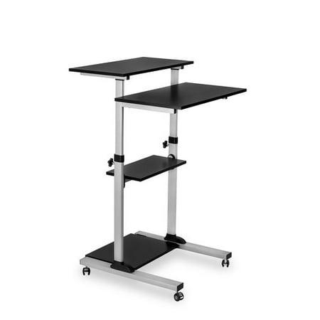 Mount-It! Mobile Stand Up Desk / Height Adjustable Computer Work Station Rolling Presentation Cart (MI-7940)