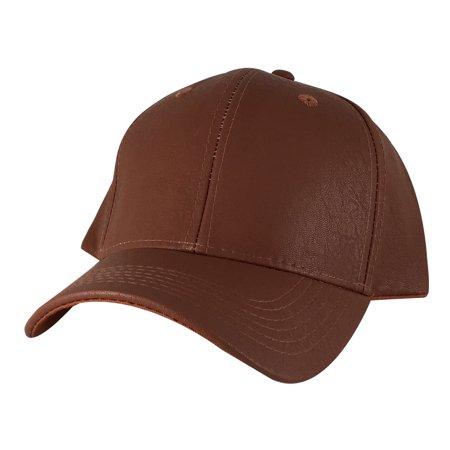 - CapRobot SPC1607 Plain Curve Solid Leather Snapback Hat Cap - Brown