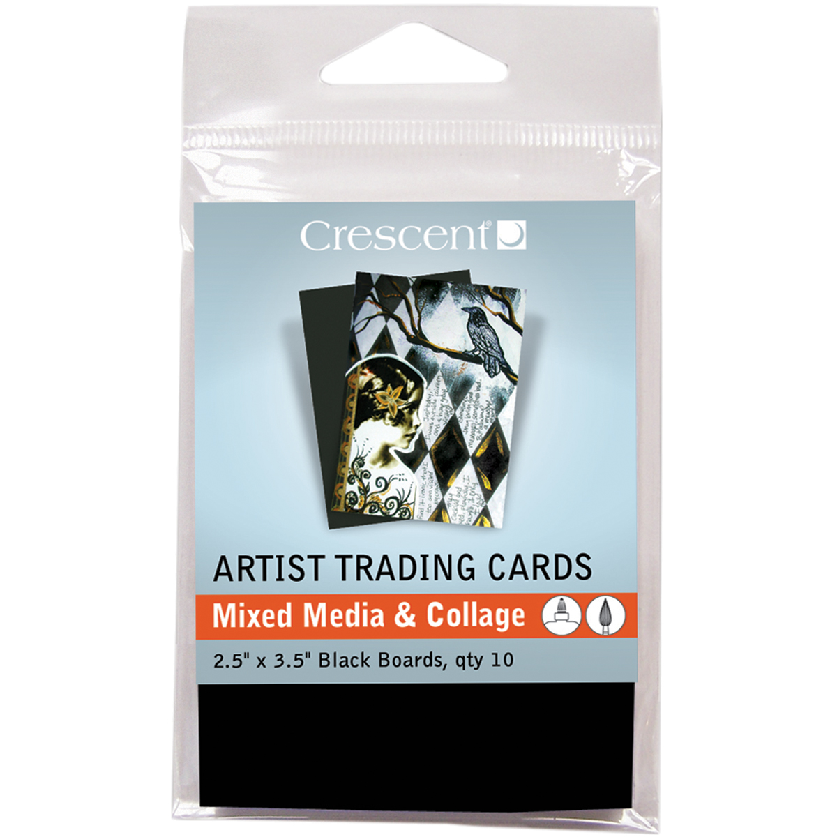 "Crescent Artist Trading Cards 2.5""X3.5"" 10/Pkg-Mixed Media & Collage - Black"