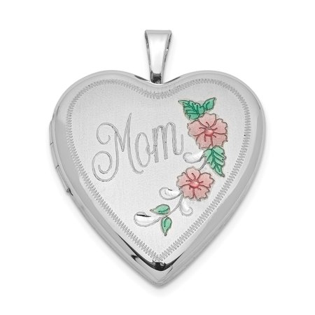 925 Sterling Silver 20mm Enameled Floral Mom Heart Photo Pendant Charm Locket Chain Necklace That Holds Pictures Gifts For Women For Her