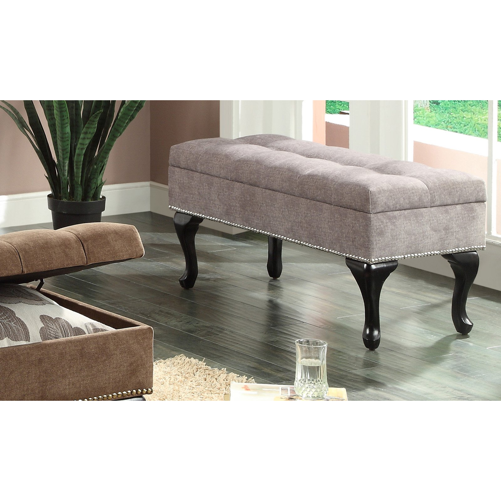 Attractive Fabric Storage Bench With Stud Detail, Grey