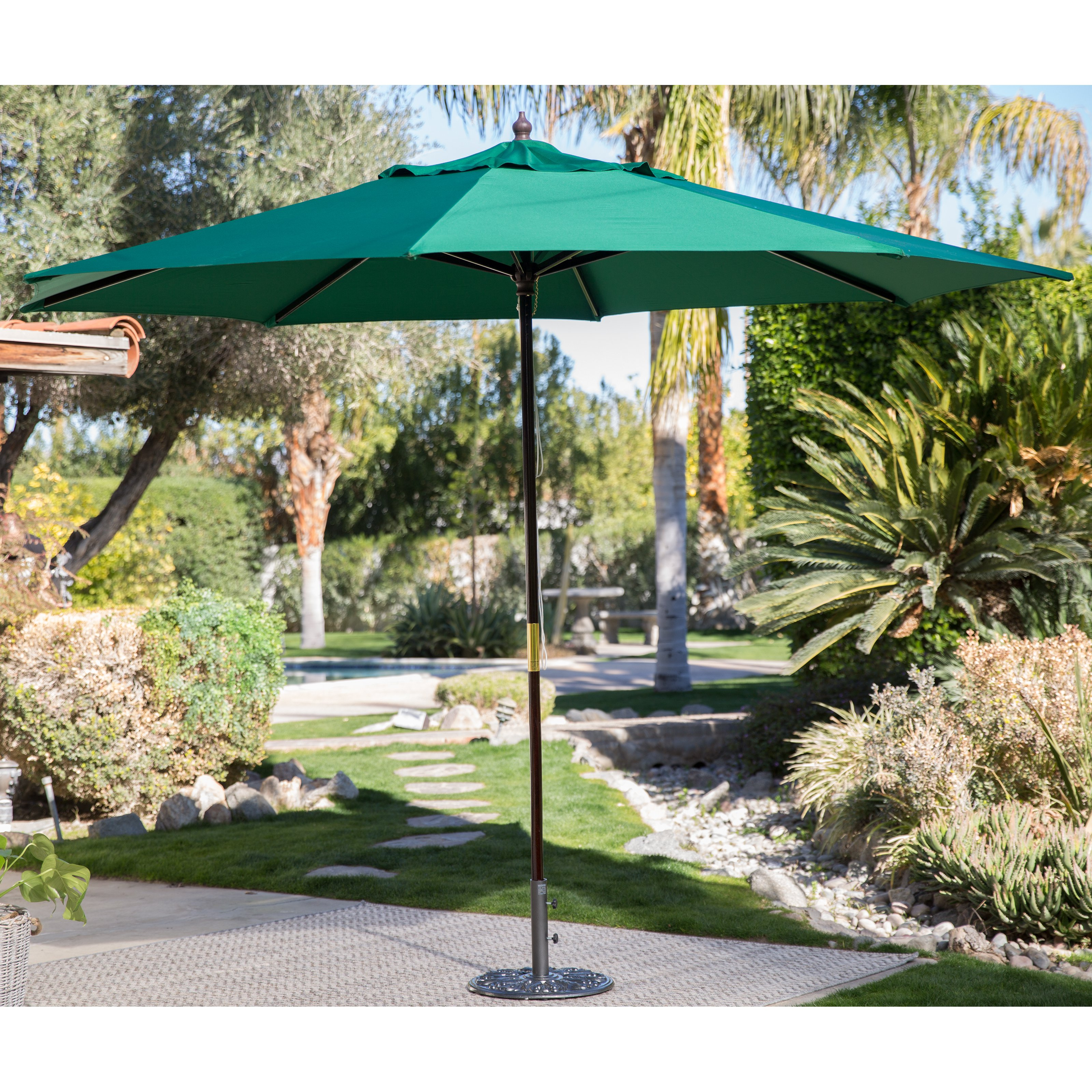 Coral Coast Key Largo 11-ft. Spun-Poly Wood Market Umbrella