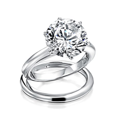 1976eb28288 Bling Jewelry - 3.5CT Solitaire CZ Engagement Wedding Ring Set Thin  Traditional Band Cubic Zirconia Rhodium Plated 925 Sterling Silver -  Walmart.com