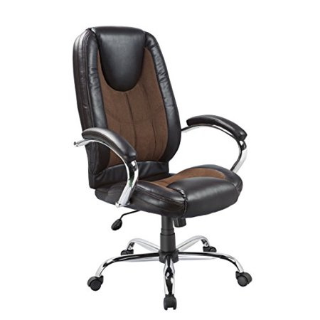Office Factor Black Pu And Brown Microfiber With Contrast Sching Ergonomic High Back Executive Managerial