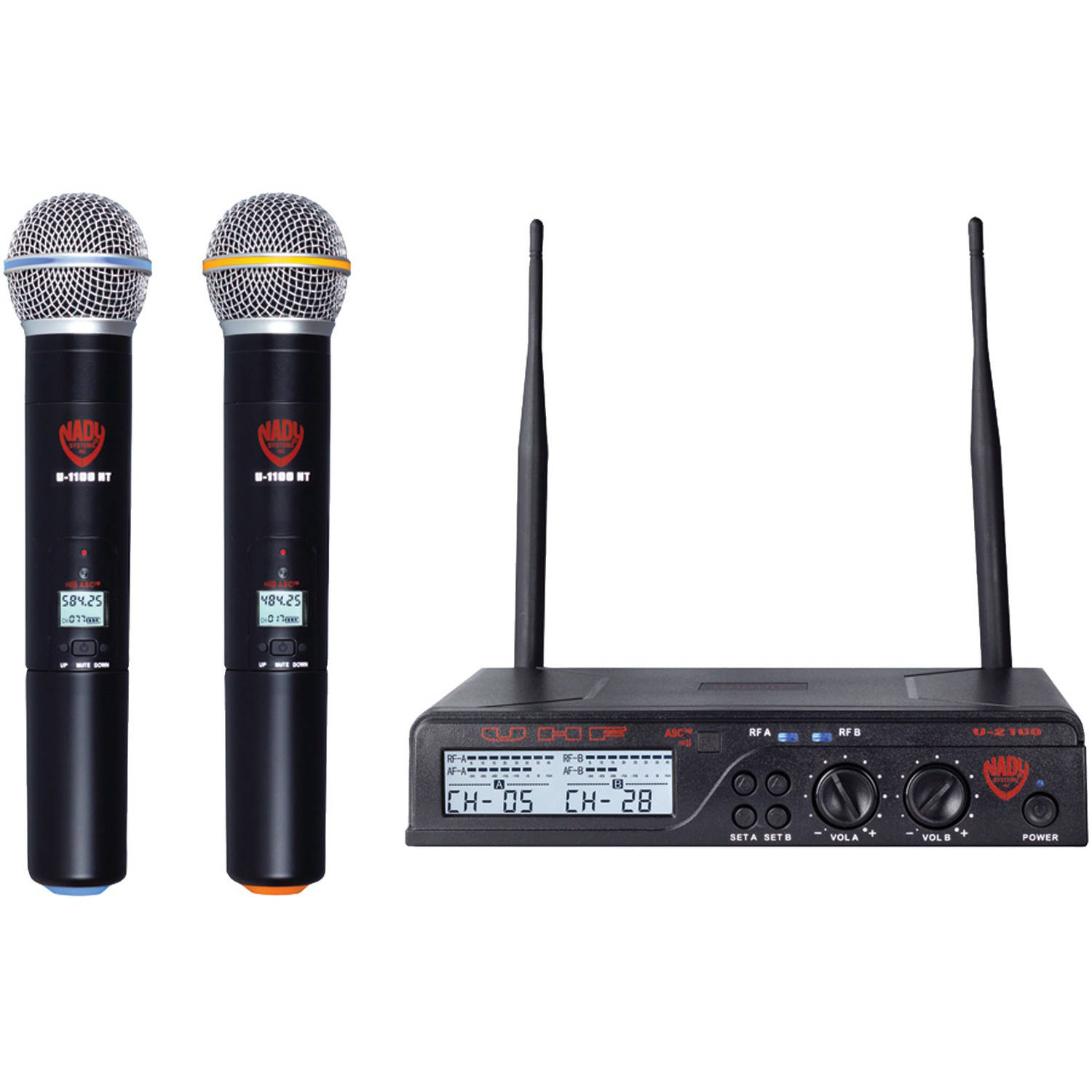 Nady U-2100 HT Band A b Dual UHF Wireless Handheld Microphone System by Nady