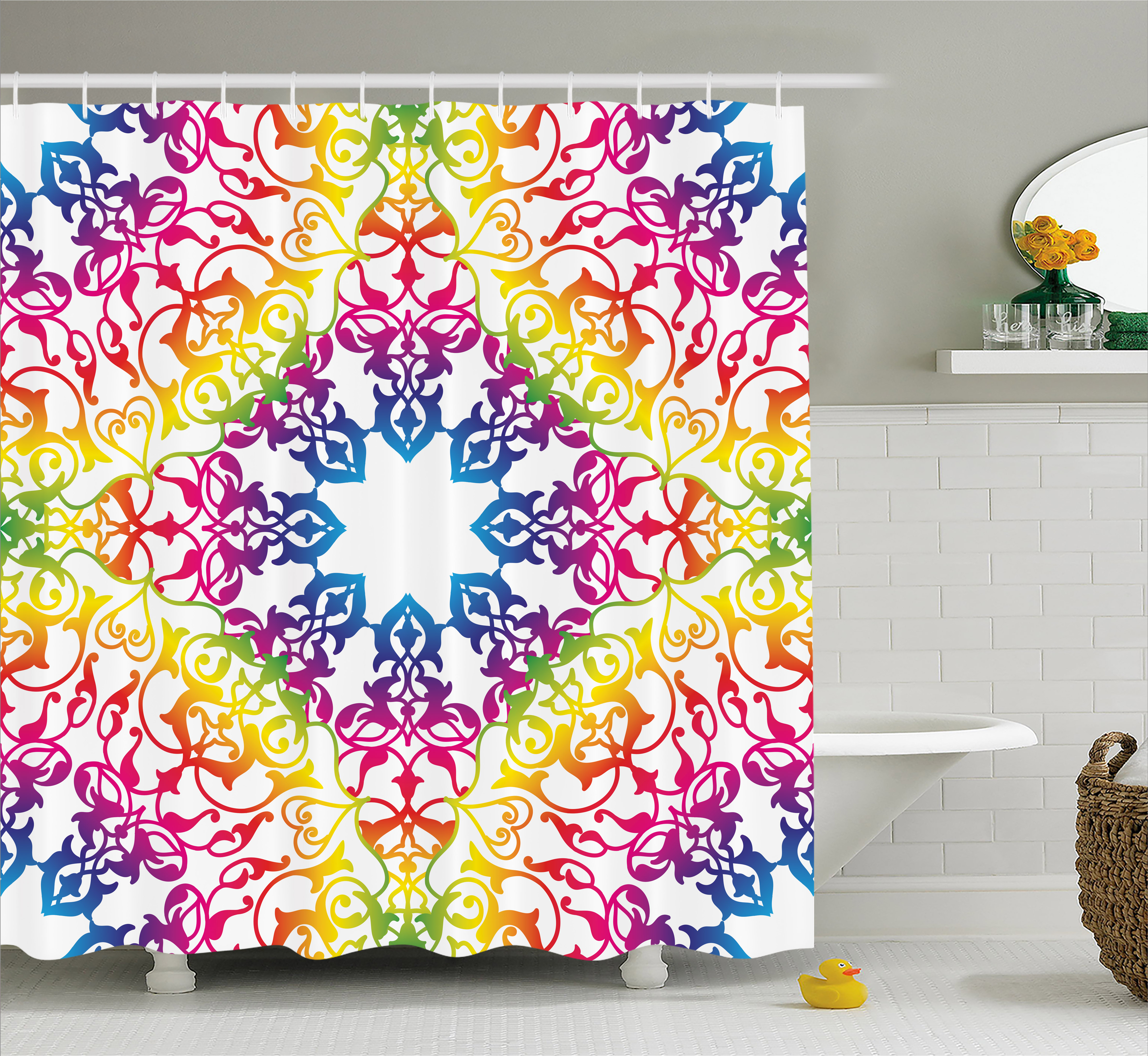 India Shower Curtain, Abstract Ombre Vivid Rainbow Colored Lace Mandala Tie  Dye Flower Kids Hippie Decor, Fabric Bathroom Set With Hooks, 69W X 70L ...