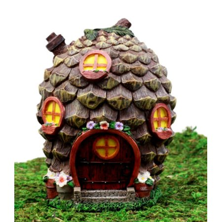 Halloween Hen Party Ideas (Ebros Gift Enchanted Fairy Garden Miniature Halloween Cozy Pinecone Cottage House Figurine 6.25