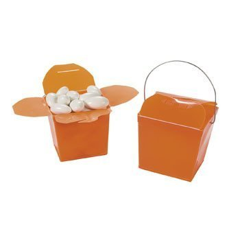 Orange Takeout Boxes - Halloween Party Supplies & Decorations & Party Favor & Goody - Bin Bag Halloween Decorations