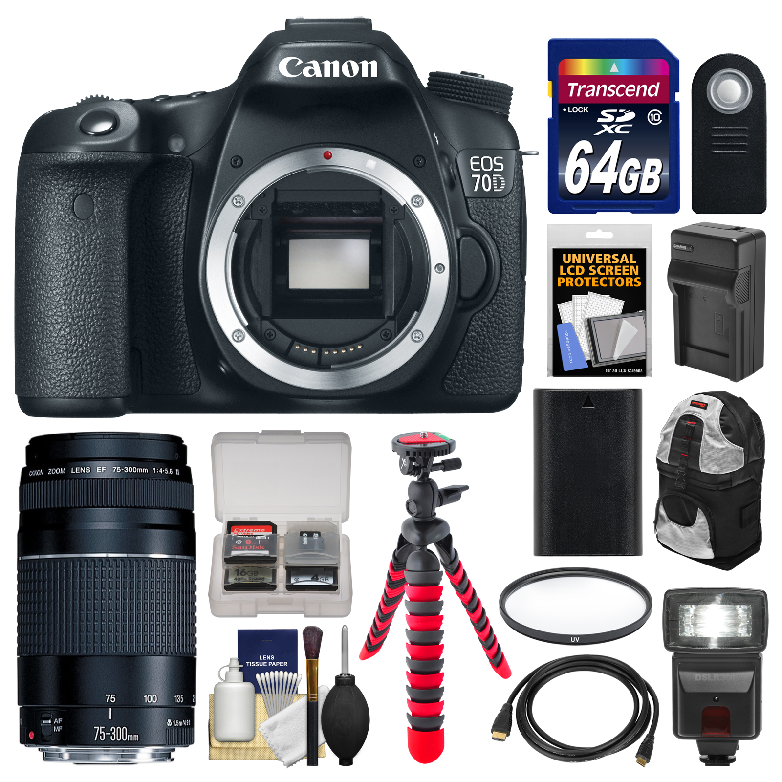 Canon EOS 70D Digital SLR Camera Body with 75-300mm III Lens + 64GB ...