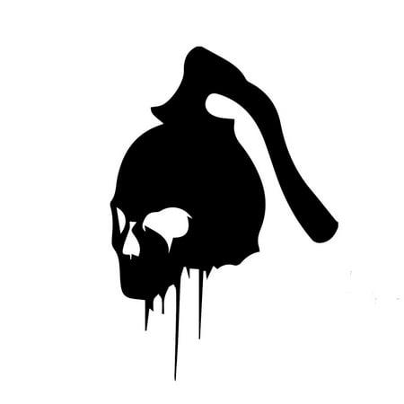 Bleeding Skull With Hatchet Vinyl Decal Sticker | Cars Trucks Vans Walls Laptops Cups | Black | 5.5 inches | KCD981