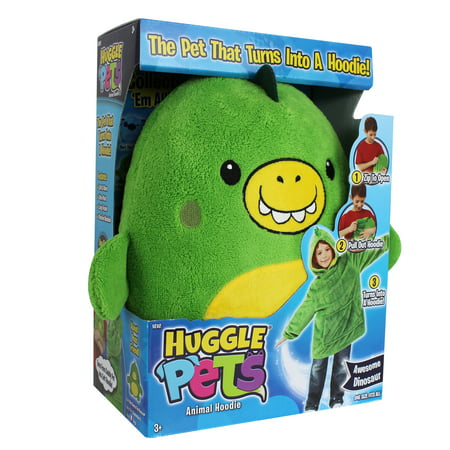 Huggle Pets Green Dinosaur Animal Hoodie Sweatshirt and Plush Toy, As Seen on TV