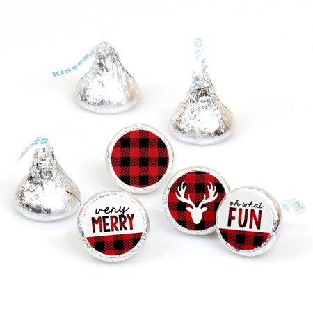Prancing Plaid - Christmas & Holiday Buffalo Plaid Party Round Candy Sticker Favors - Labels Fit Hershey's Kisses-108 - Cheap Christmas Favors