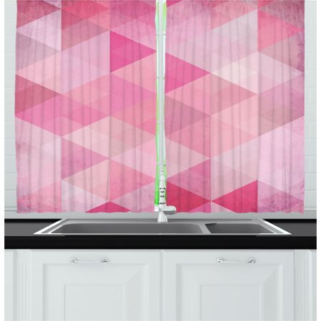 Pink Curtains 2 Panels Set, Abstract Vintage Triangles Mosaic Grid ...