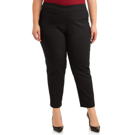 Zac & Rachel Women's Plus Size Millenium Ankle Slim Leg Pants with Silver Rim 1990s Womens Pants
