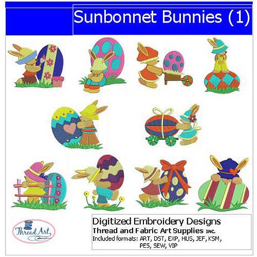 Threadart Machine Embroidery Designs Sunbonnet Bunnies(1) CD