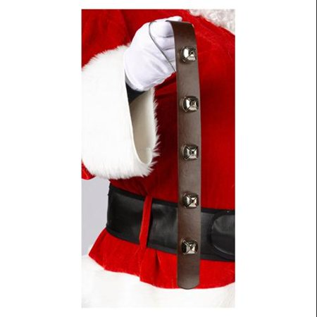"20"" Silver Jingle Bell Brown Belt Strap Door Hanging Christmas Decoration"