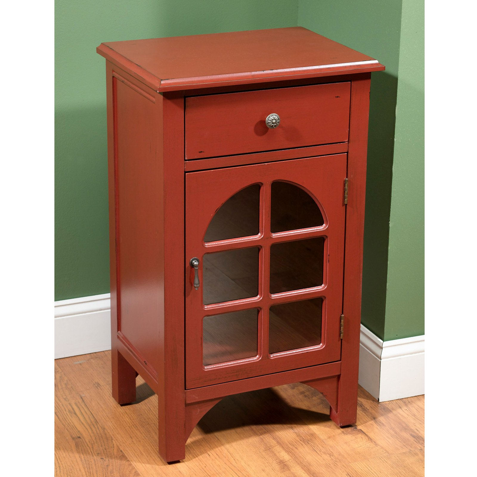 AA Importing 1 Door End Table Antique Red by AA Importing