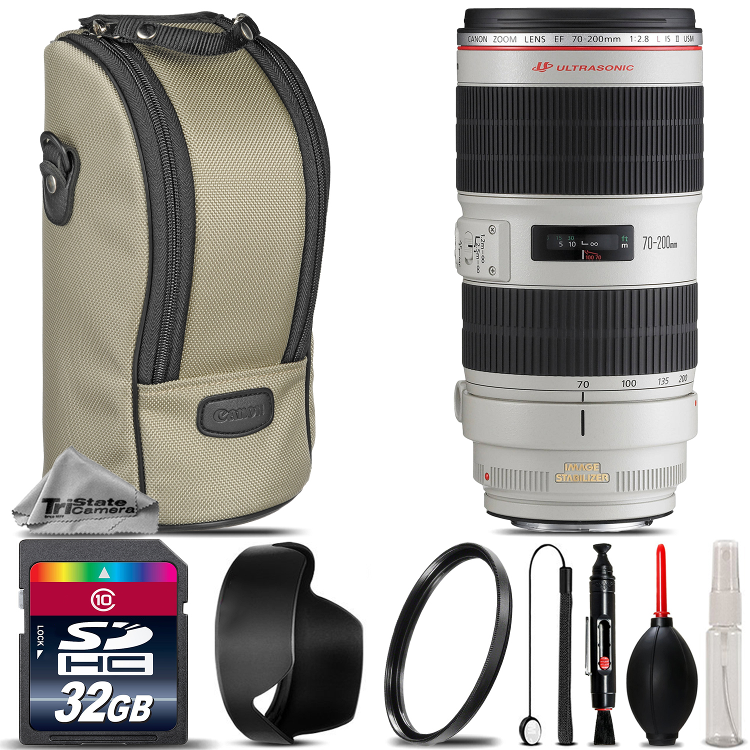 Canon EF 70-200mm f/ 2.8L IS II USM Lens + UV Filter + Cleaning Kit - 32GB Kit