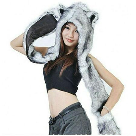 bf70bd7c3 HUSKY Full Animal Hoodie Hat 3-in-1 Function Faux FUR - Walmart.com