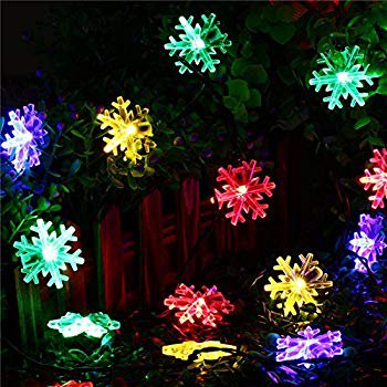 40 LED 20ft Snowflake Flowers Solar String Fairy Lights Waterproof Outdoor Home Garden Decor Christmas Holiday Decoration Battery Powerd (Multi-colored) ()