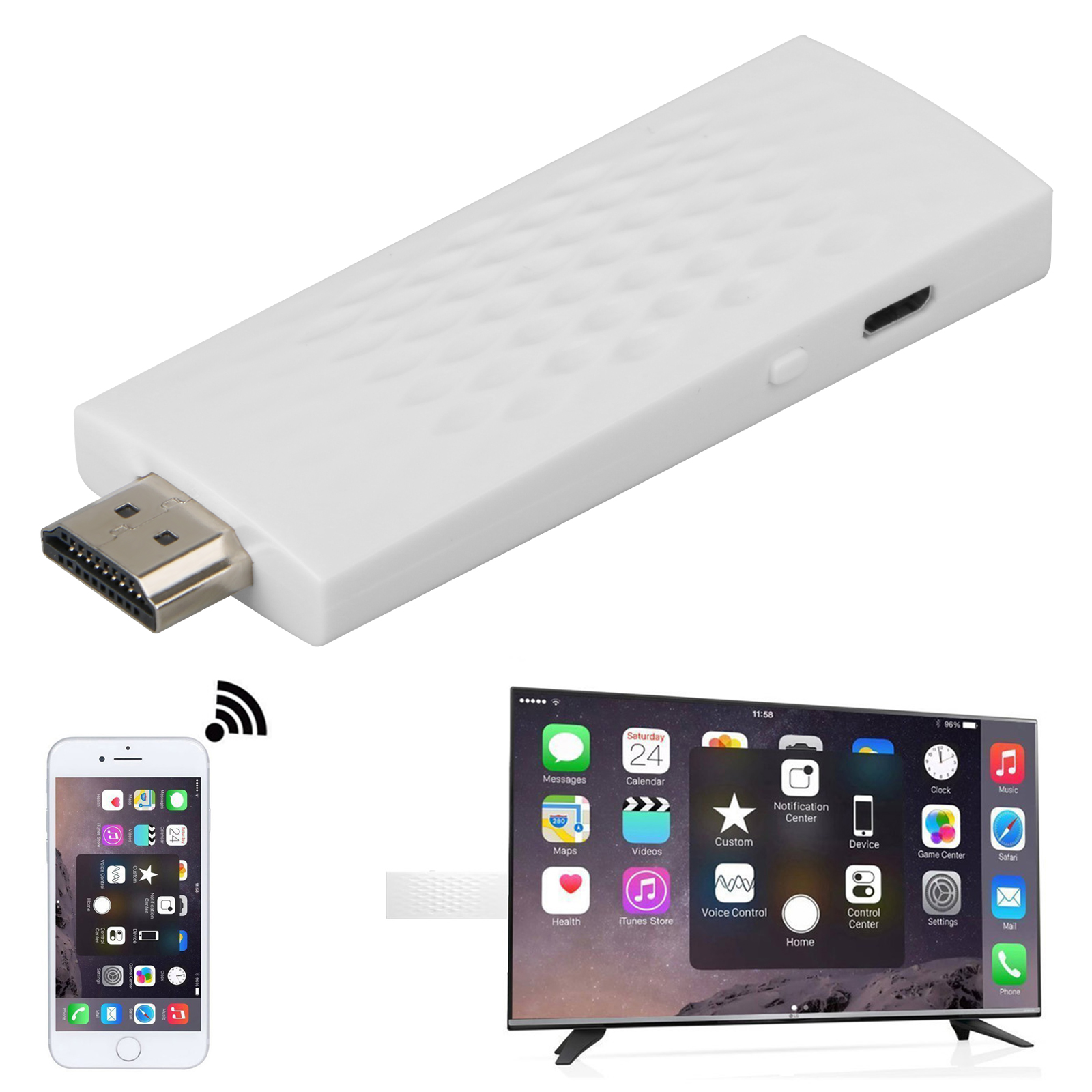 Wireless HDMI 2.4G Wifi Airplay Mirror Display TV Screen Mirroring Video Dongle Adapter for DLNA Airplay iPhone iPad Andorid Phone to TV Monitor Projector Upto 1080P
