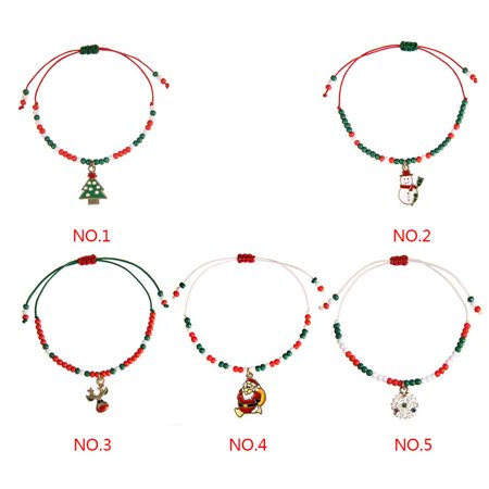 Ustyle Cute Drop Oil Christmas Pendant Bracelet Xmas Decor Home Happy New Year Party Ornaments Women Hand-woven Bangle - image 4 de 9